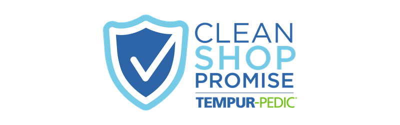 Clean Shop Promise Badge with Tempur-Pedic Logo