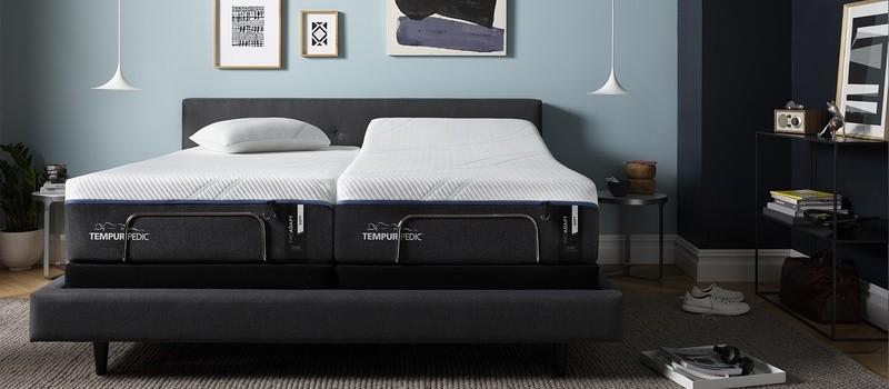 A Tempur-ProAdapt, Soft, Split-King mattress on a Split-King Tempur-Pedic Adjustable Base in a furnished room