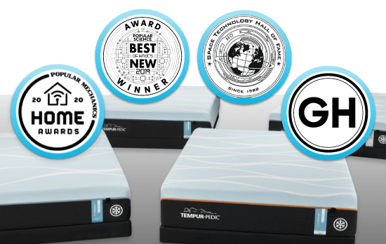 """A collage of Breeze mattresses with badges that read """"Popular Mechanics 2020 Home Awards, Popular Science Best of What's New Award, Space Technology Hall of Fame since 1996 and Good Housekeeping"""""""