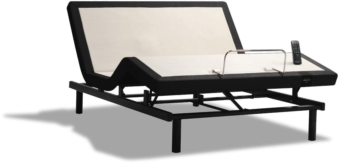 A Tempur-Ergo Adjustable Power Base showing the full range of adjustments, with a max head tilt range of 57° and foot raise range of 46°.