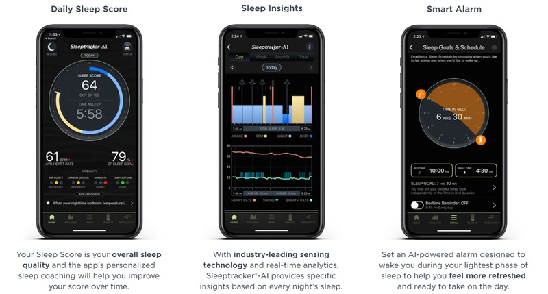 Image showing three phones with sleep tracker app modules for sleep score, insights, and smart alarm