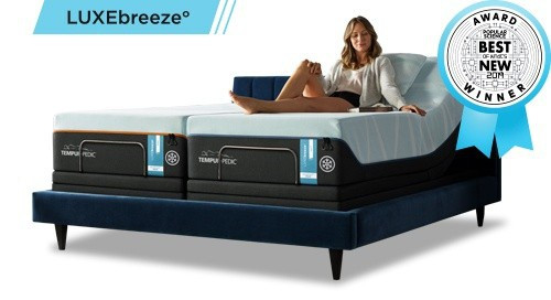 LuxeBreeze mattress on an adjustable base with Popular Science's Best of What's New award badge