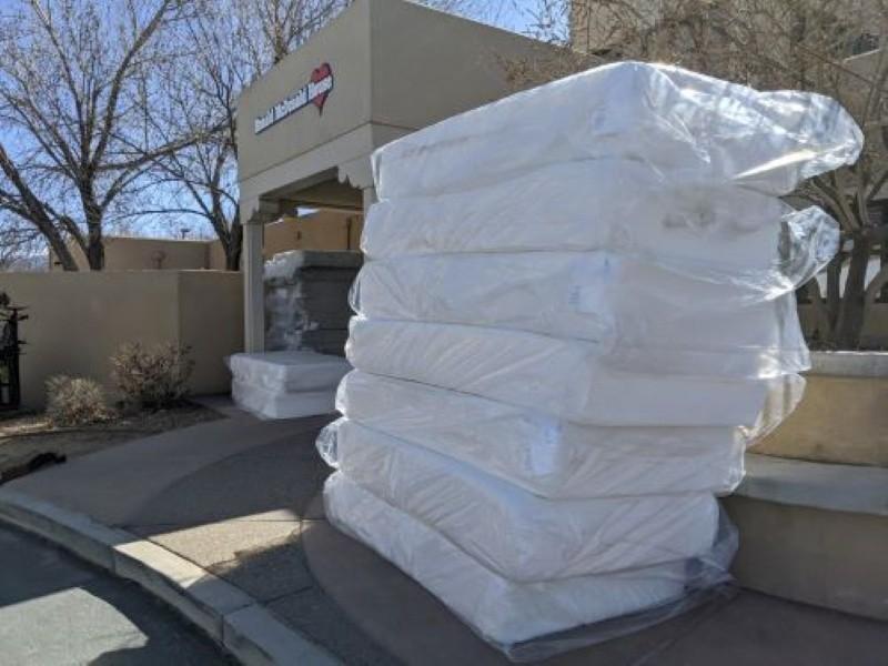 Mattresses stacked outside Ronald McDonald House
