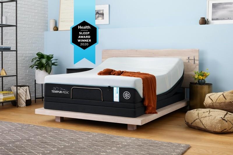 ProBreeze Mattress in decorated room with Health Sleep Award Winner 2020 banner