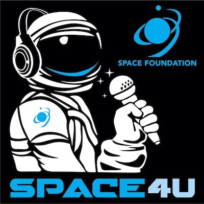 Space foundation logo with animated astronaut in front of black background with text that reads SPACE4U