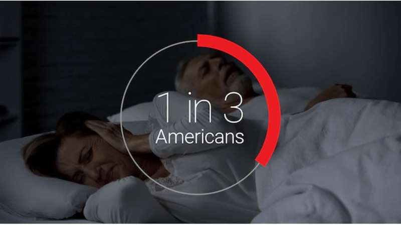 restless sleeping couple, graphic saying 1 in 3 Americans
