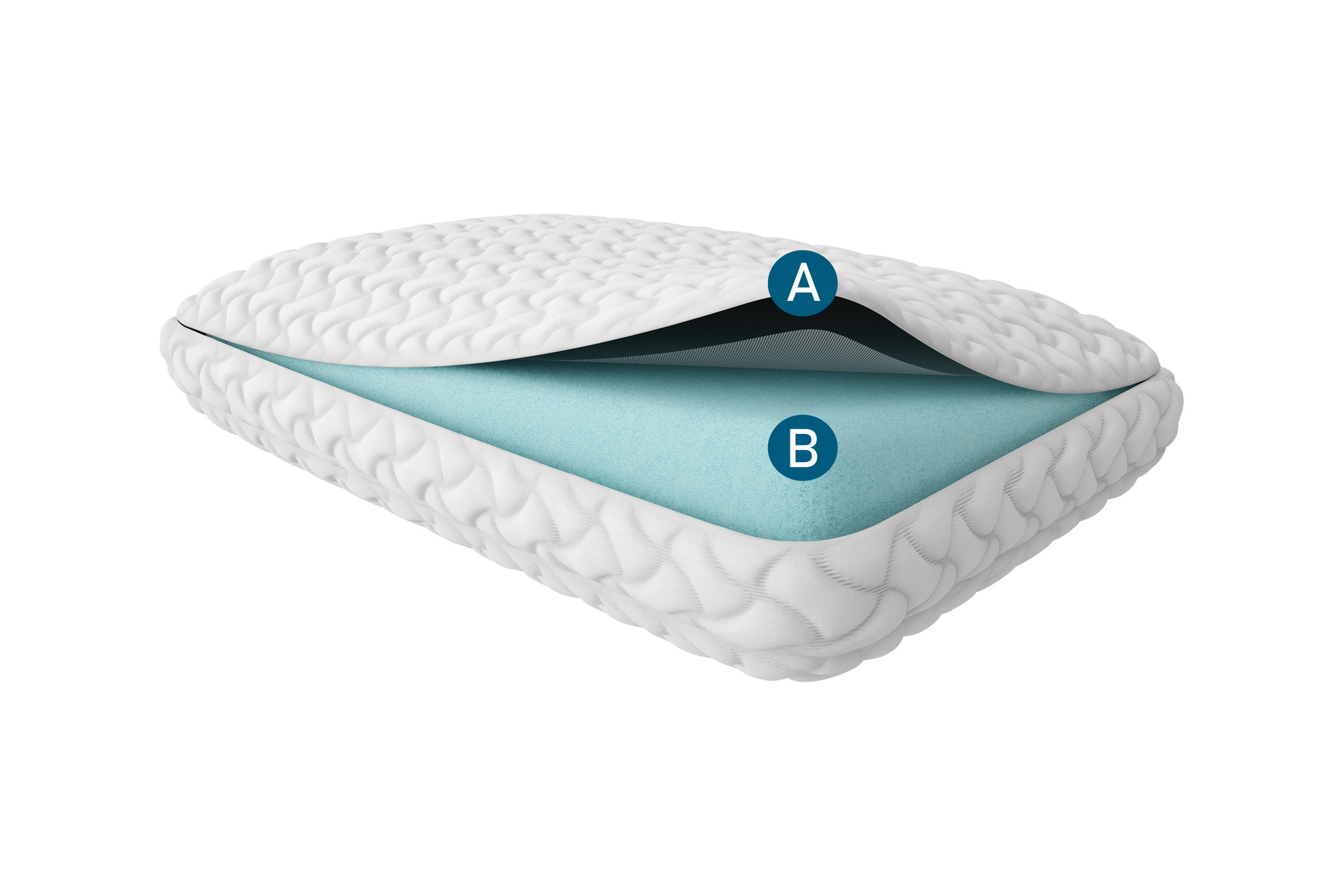 The cutaway image showing the layers of a tempur-cloud pillow