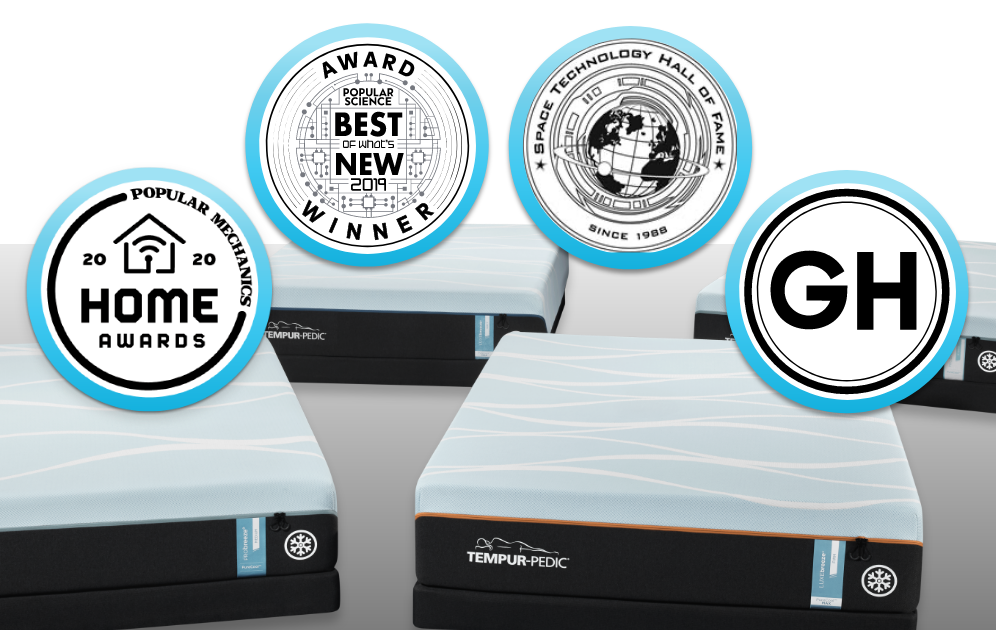 "A collage of Breeze mattresses with badges that read ""Popular Mechanics 2020 Home Awards, Popular Science Best of What's New Award, Space Technology Hall of Fame since 1996, and Good Housekeeping"""