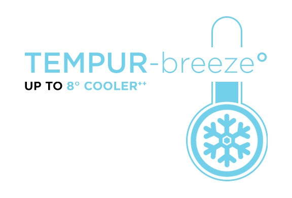 "Tempur-breeze logo with text saying, ""Tempur-breeze UP TO 8° cooler ++"""