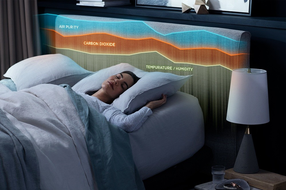 A woman asleep in bed with a graph displaying the bedrooms temperature, air purity, and CO2 levels.