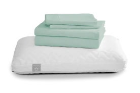 Two pillows and a set of green sheets bundle