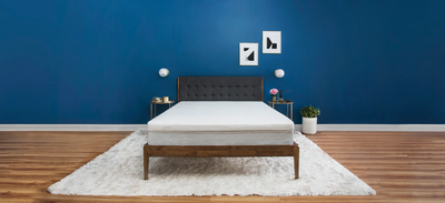 Tempur topper on mattress in room with blue wall and artwork