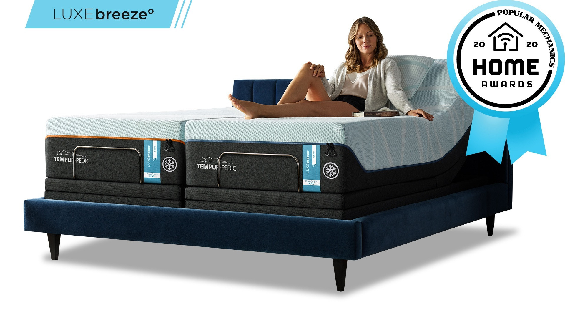 "Woman comfortably resting on a LuxeBreeze mattress with a badge that reads ""Popular Mechanics 2020 Home Awards"""