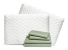 2 pillows and a set of sheets stacked