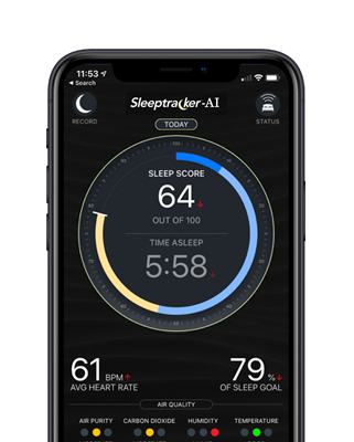 A nightly sleep score shown on the Sleeptracker app.