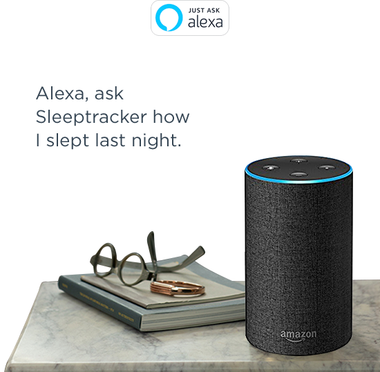 "A Amazon Alexa device on a night stand with the text ""Alexa, ask Sleeptracker how I slept last night"""