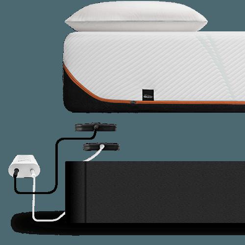 2 sleeptracker sensors placed underneath a mattress