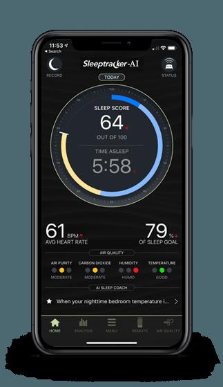 A smart phone showing a sleep score on the sleeptracker app