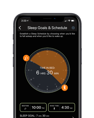 Sleep goals and schedule shown on the Sleeptracker app including a smart alarm.