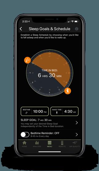 A smart phone showing the smart alarm on the sleeptracker app