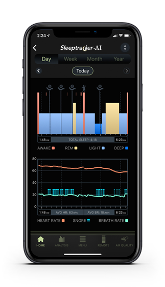 An iphone displaying the Sleep Analysis screen in the Sleeptracker app